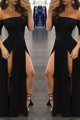 2017 Custom Charming Black Prom Dress,Sexy Off The Shoulder Evening Dress,Sexy Slit Prom Dress