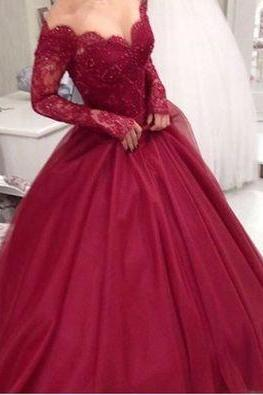 2017 Custom made burgundy lace prom dress,long sleeve prom dress,see through formal dress
