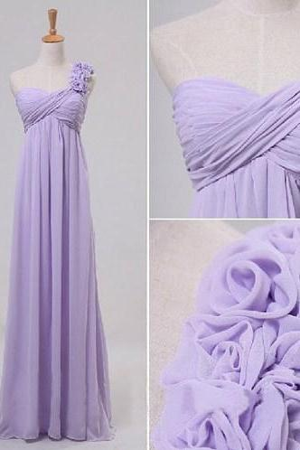 2017 Custom Made Charming Prom Dress,Chiffon Prom Dress,A-Line Prom Dress,One-Shoulder Prom Dress,Flower Prom Dress