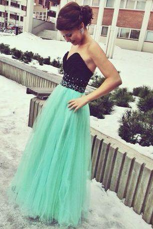 2017 Custom Made Mint green and black prom dress,sexy sweetheart evening dress,backless formal dress