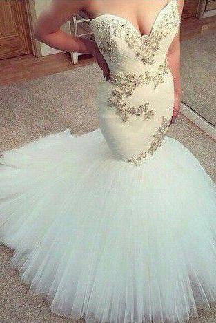 2017 Custom Made White Prom Dress,mermaid long prom dress,sweetheart wedding dress
