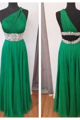 2017 Custom Made High Quality Prom Dress,Chiffon Prom Dress,One-Shoulder Prom Dress,A-Line Prom Dress, Charming Prom Dress