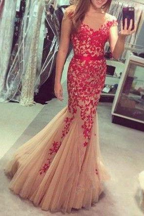 2017 Custom Made Charming Prom Dress,O-Neck Prom Dress,Appliques Prom Dress,Tulle Prom Dress,Mermaid Evening Dress