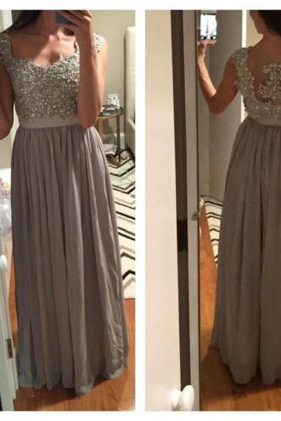 2017 Custom Made Charming Prom Dress,Beading Prom Dress,A-Line Prom Dress,Chiffon Prom Dress,Appliques Evening Dress