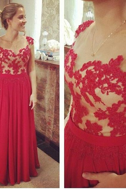 2017 Custom Made Charming Prom Dress,A-Line Prom Dress,Appliques Prom Dress,Chiffon Prom Dress,Noble Evening Dress