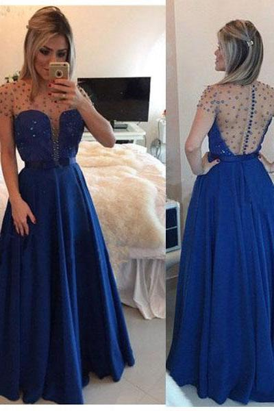 2017 Custom Made Charming Prom Dress,Chiffon Prom Dress,Beading Prom Dress,O-Neck Prom Dress,A-Line Prom Dress