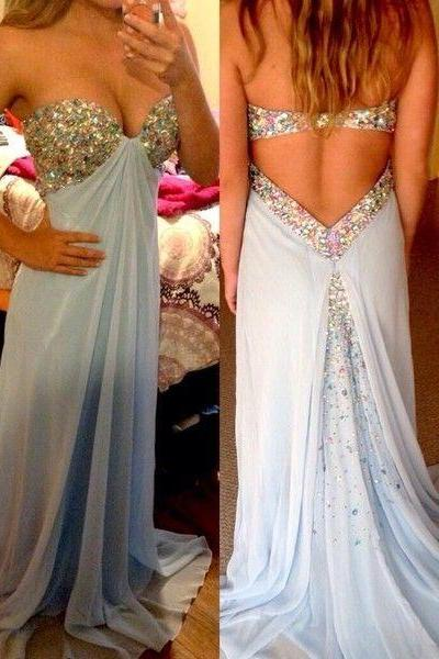 2017 Custom Made Charming Prom Dress,Sweetheart Prom Dress,A-Line Prom Dress,Sequined Prom Dress,Chiffon Prom Dress