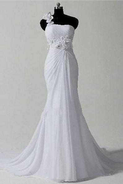 2017 Custom Made Romantic Wedding Dress, One Shoulder Wedding Dress, Mermaid Wedding Dress