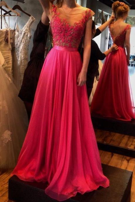 2017 Custom Made Charming Rosy Prom Dress,Appliques Prom Dress,A-Line Prom Dress,Chiffon Prom Dress,Long Prom Dress