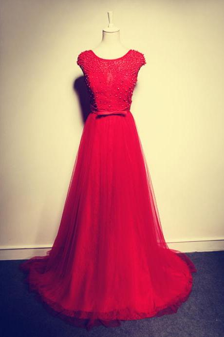2017 Custom Made Beading Prom Dress,Elegant Red Prom Dress,Tulle Prom Dress,A-Line Prom Dress
