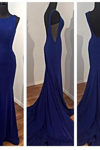 2017 Custom Made Charming Royal Blue Prom Dress, Sexy Backless Evening Dress,Sleeveless Prom Dress