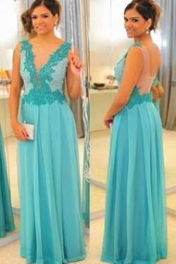2017 Custom Made Charming Blue Chiffon Prom Dress,Appliques and Beading Evening Dress, V-Neck Prom Dress,Sexy Backless Evening Dress