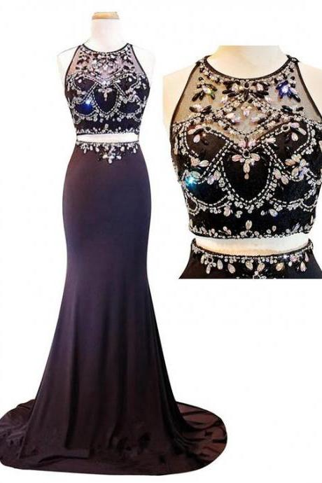 2017 Custom Made Charming Beading Prom Dress, Sexy Halter Evening Dress,Two Pieces Prom Dress