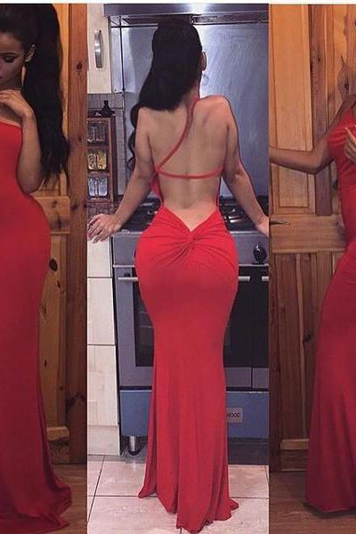 2017 Custom Made Charming Red Prom Dresses,One Shoulder Prom Dress,Sexy Backless Prom Dress