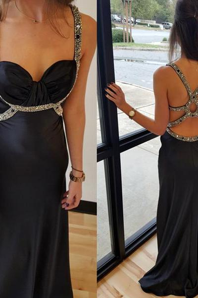 2017 Custom Made Charming Black Prom Dresses,Beading Prom Dress, Sexy Backless Prom Dress