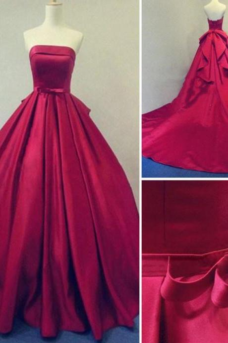 2017 Custom Made Charming Red Prom Dresses, Strapless Prom Dress,Bowknot Ball Gown