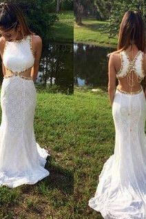 2017 Custom Made Popular White Lace Prom Dresses,Beading Evening Dresses,Mermaid Prom Dresses ,Backless Evening Dress