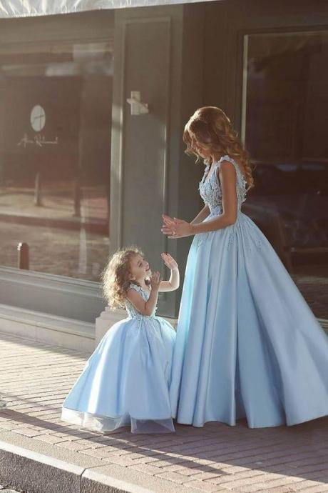 2017 Custom Made Charming Light Blue Prom Dress,Lace Beading Evening Dress, Sleeveless Beading Ball Gown