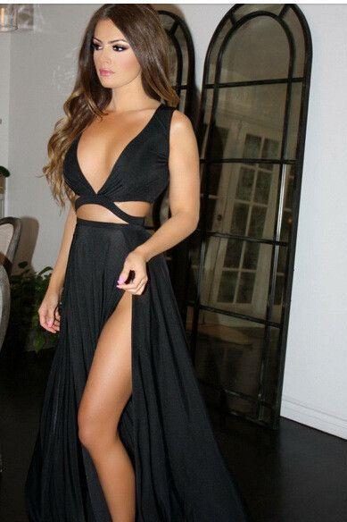 2017 Custom Made Charming Black Prom Dress, Two Pieces Evening Dress, Sexy V-Neck Evening Dress