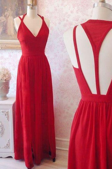 2017 Custom Made Charming Red Prom Dress,Sexy Sleeveless Evening Dress,Sexy Backless Prom Dress
