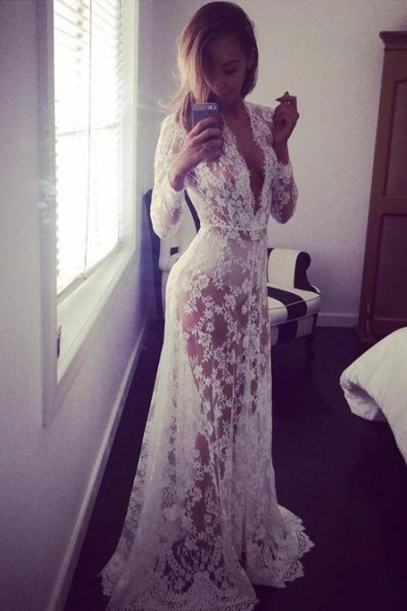 2017 Custom Made, White Lace Prom Dress,Long Sleeves Evening Dress,Sexy See Through Party Dress