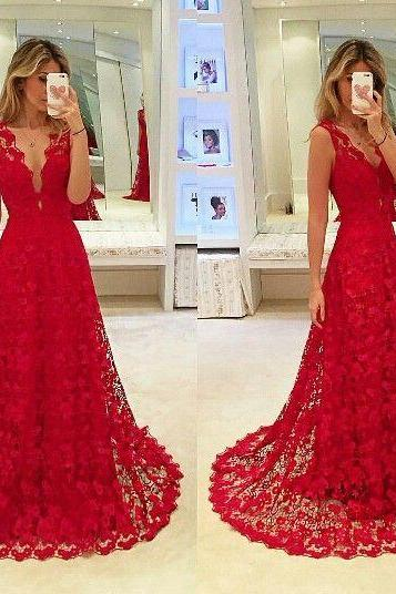 2017 Custom Made, Red Lace Prom Dress,Sexy V-Back Evening Dress, Sleeveless Party Dress
