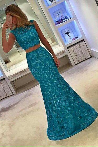 2017 Custom Made,Two Pieces Prom Dress,Lace Beading Evening Dress, Sleeveless Party Dress