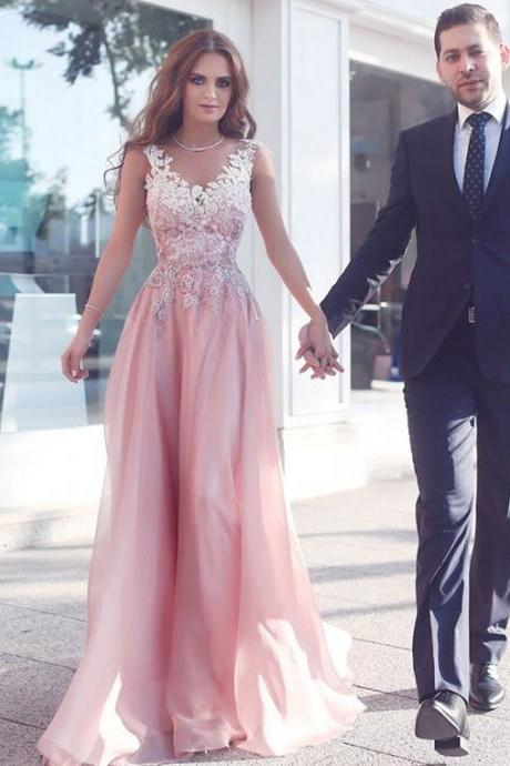 2017 Custom Charming Pink Chiffon Prom Dress,Sleeveless Evening Gown,Floor Length Party Dress