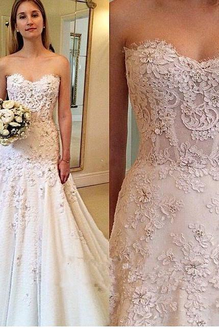2017 Custom Charming White Lace Wedding Dress,Sweetheart Bridal Gown,Floor Length Wedding Dress