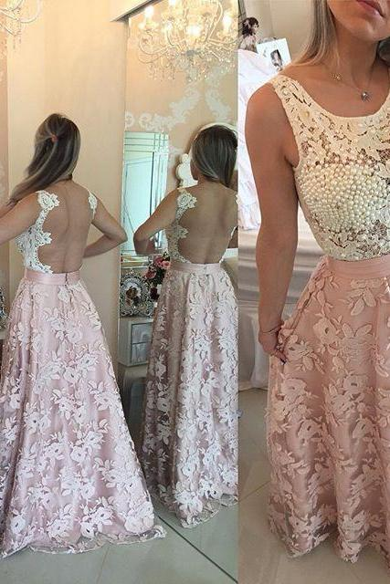 2017 Custom Charming Pink Prom Dress,White Lace Evening Gown,Backless Party Dress ,Floor Length Prom Dress