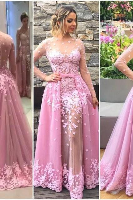 2017 Custom Charming Pink Prom Dress, Long Sleeves Sexy Evening Gown,See Through Party Dress