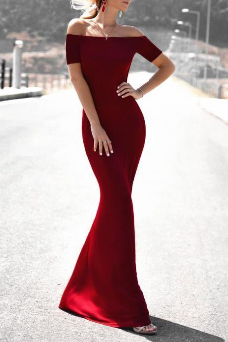 2017 Custom Charming Burgundy Prom Dress,Sexy Off The Shoulder Evening Gown,Floor Length Party Dress