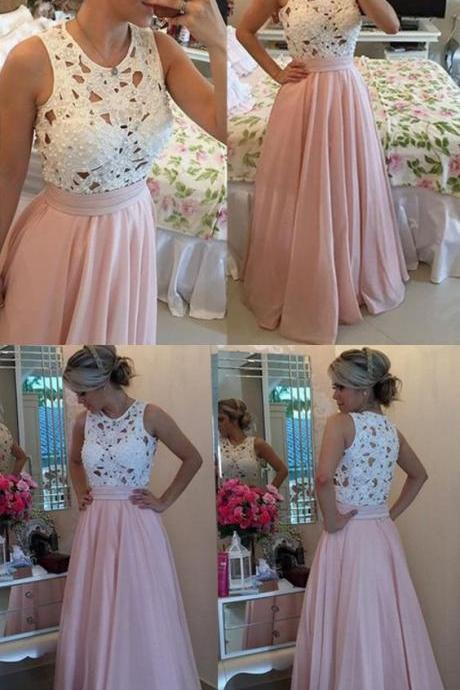 2017 Custom Made Charming White Lace Pink Prom Dress, Sleeveless Crochet Hollow Party Dress, Beading Evening Dress,Floor Length Party Dress