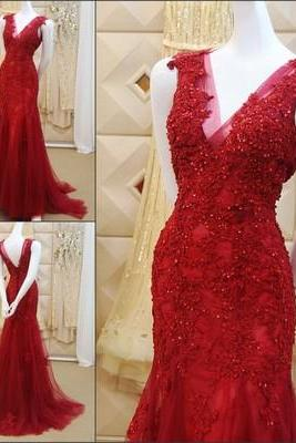 2017 Custom Made Red Lace Prom Dress,Sexy V-BackEvening Dress,Sleeveless Party Gown,Beaded Prom Dress,High Quality