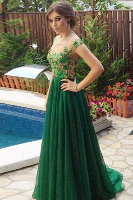 2017 Custom Made Green Beaded Prom Dress,Sexy Appliques Evening Dress,Chiffon Party Gown,Short Sleeves Prom Dress,High Quality