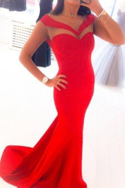 2017 Custom Made Simple Red Prom Dress,Sexy See Through Evening Dress,Mermaid Party Gown, High Quality