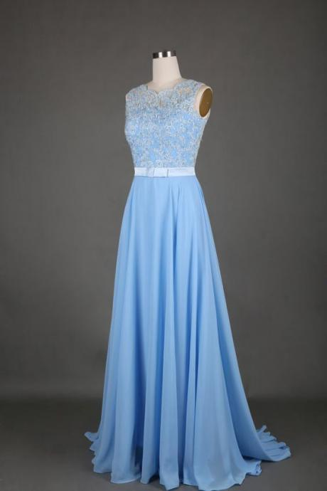 2017 Custom Made Light Blue Prom Dress,Sexy Sleeveless Evening Dress,Appliques Beading Party Gown, High Quality