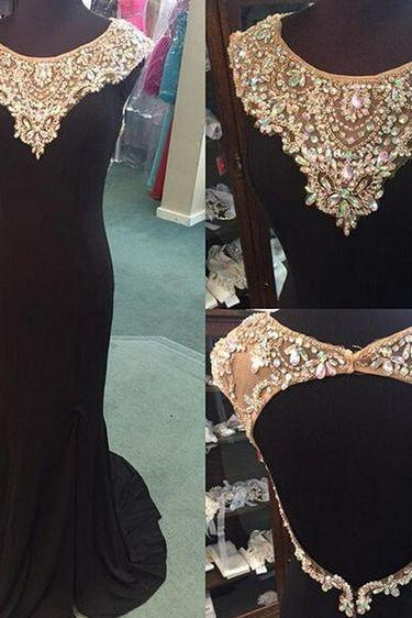 2017 Custom Made Black Prom Dress,Beading Evening Dress,Sexy Backless Party Gown,Side Slit Pageant Dress,High Quality