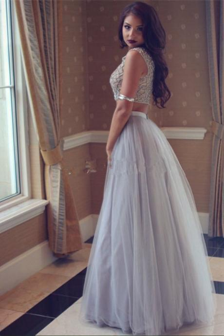 2017 Custom Made Tulle Prom Dress,Two Pieces Evening Dress,Beading Party Gown,A-Line Pegeant Dress, High Quality