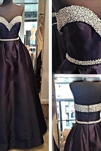 2017 Custom Made Black Prom Dress,Beading Evening Dress,Sweetheart Party Gown,Floor Length Pegeant Dress, High Quality