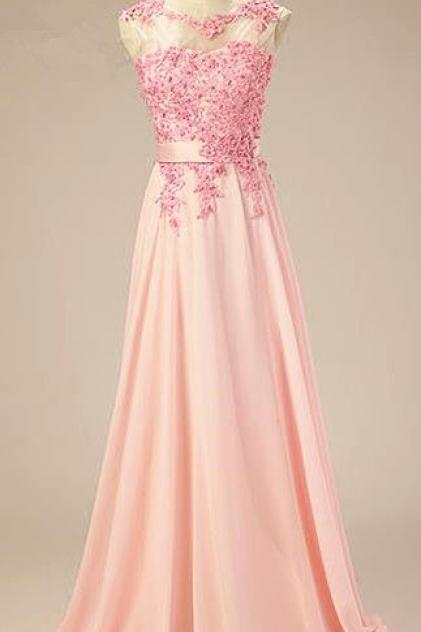 2017 Custom Made Pink Chiffon Prom Dress,Appliques Evening Dress,Sleeveless Party Gown,Floor Length Pegeant Dress, High Quality