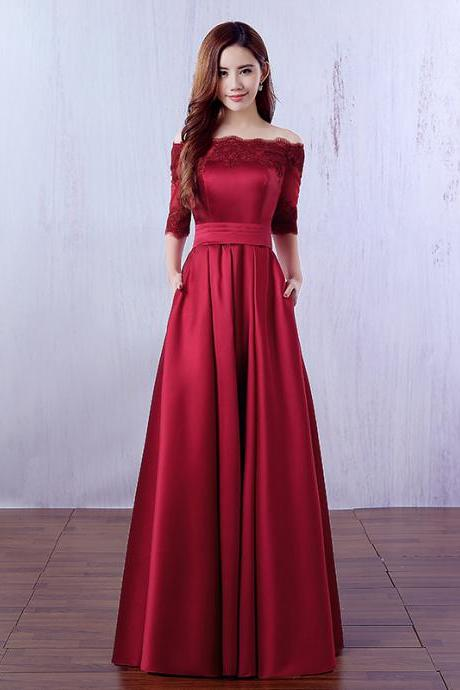 2017 Custom Made Red Prom Dress,Off The Shoulder Prom Dresses,Long Prom Dress,Cheap Floor Length Prom Dress,Lace Appliques Party Dress