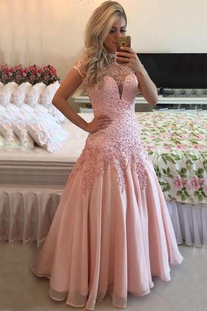 2017 Custom Made Pink Chiffon Prom Dress, Appliques Beading Evening Dress,Backless Sexy Dress,Floor Length Party Dress,High Quality