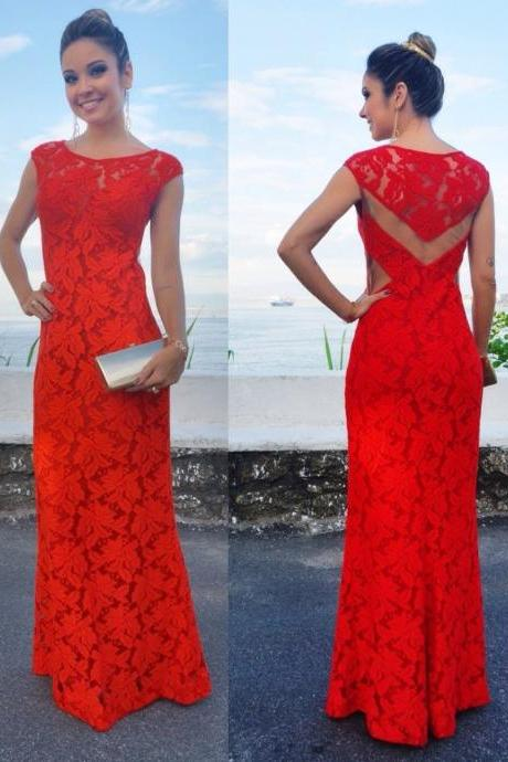 2017 Custom Made Red Lace Prom Dress, See Through Evening Dress,Sleeveless Sexy Dress,Floor Length Party Dress,High Quality
