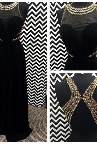 2017 Custom Made Black Prom Dress,Beading Evening Dress,Backless Sexy Dress,Floor Length Party Dress,High Quality