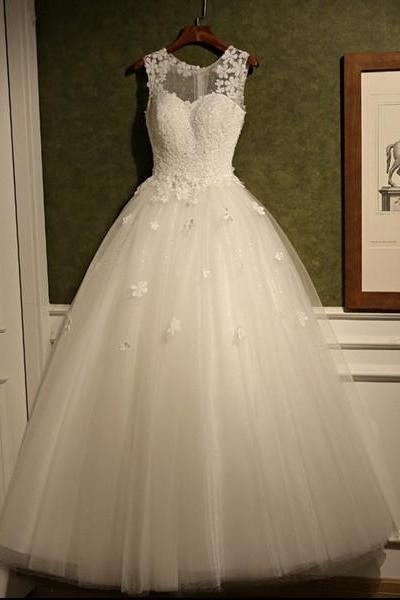 2017 Custom Made Wedding Dress Romantic Wedding Dress Appliques Wedding Dress Cheap Wedding Dress Scoop Wedding Dress White Wedding Dress,High Quality