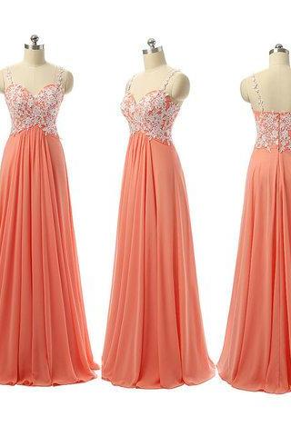 Lace Appliqués Sweetheart Shoulder Straps Floor Length A-Line Bridesmaid Dress