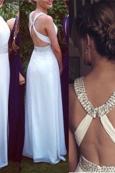 Fashion White Prom Dress , Shiny Beading Prom Dress , Sexy X Back White Prom Dress , A-Line Floor Length Long Prom Dress