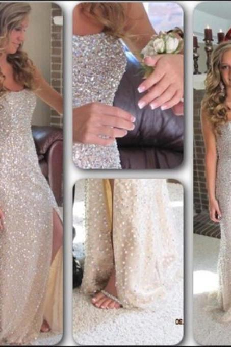 Beaded Embellished Strapless Straight-Across Floor Length Trumpet Prom Dress Featuring Slit, Evening Dress