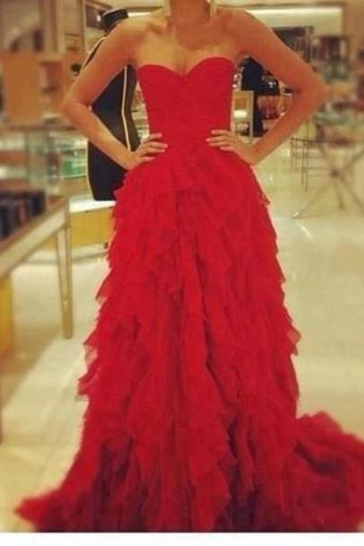 Red Sweetheart Floor Length Tulle Tiered Formal Dress, Prom Dress